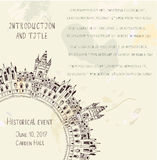 Template for the historical event invitation with castle Royalty Free Stock Photo