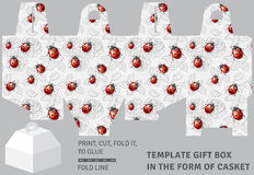 Template holiday cardboard gift box in the form of casket Royalty Free Stock Photos