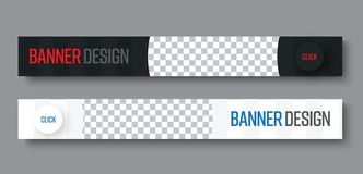 Template of horizontal black and white web banners with semi-cir. Cular elements and a place for photos. Vector design with a round button red and blue text Royalty Free Stock Image