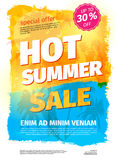 Template for HOT SUMMER SALE with sample text. Vector illustration Stock Photo