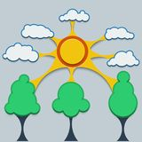Template infographic. Contact the sun, clouds and trees in style metaball. Stock Image
