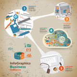 Template for infographic with graphics of the business process Stock Images