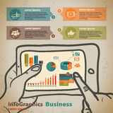 Template for infographic with hands with tablet in vintage style Royalty Free Stock Images