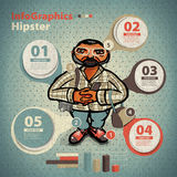 Template for infographic for Hipster Character in  Stock Image