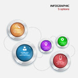 Template Infographic. 5 options. red green blue violet orange Stock Photos