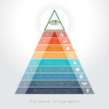 Template Infographic pyramid for nine text area Royalty Free Stock Images