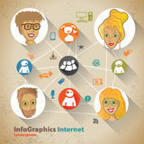 Template for infographic with Social Network Royalty Free Stock Photos