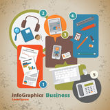 Template for infographic with symbol of the business. And internet in vintage style Royalty Free Stock Photo