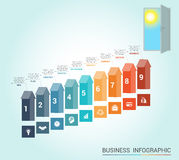 Template infographics, arrows colored and doorway, 9 positions Royalty Free Stock Photos