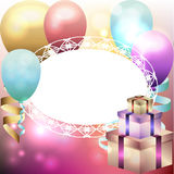 Template for invitation, birthday card with white frame, balloon. S and gift boxes Stock Photo
