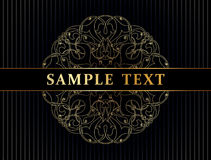 Template for invitation card. Ornate golden decorative vector invitation card Royalty Free Stock Images