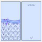 Template invitation card with a satin ribbon and bow with Victorian pattern. Royalty Free Stock Photography