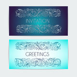 Template invitation, congratulation. Vegetable patterned border in form of floral ornament . Drawing ink and pen. Royalty Free Stock Photography