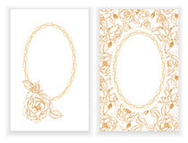 Template for invitation with flowers and buds of roses Royalty Free Stock Photo