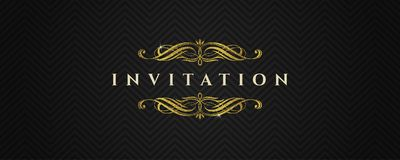 Template invitation with glitter gold flourishes elements on a black chevron pattern. Vector illustration vector illustration