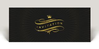 Template invitation with glitter gold flourishes elements and crown stock illustration