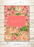 Template invitation or greeting card with hand drawn roses. Template invitation or greeting card with hand drawn flowers and roses on a wooden background. In Stock Photo
