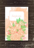 Template invitation or greeting card with hand drawn roses. Template invitation or greeting card with hand drawn roses and watercolor elements on a wooden Royalty Free Stock Photo