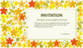 Template invitation a light green background. Template invitation colorful flowers and circles on a green background. Can be used for wedding invitations Stock Photography