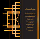 Template invitation style Gatsby with gold pattern Royalty Free Stock Photos