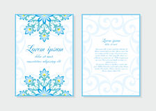 Template of invitation white. Templates flyer and invitation card in Oriental design. Floral ornament and pattern in a Moorish style. Arabesque Royalty Free Stock Photos