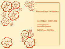 Template invitations on a beige background. With abstract flowers. Suitable for weddings, birthdays, parties. Vector illustration Royalty Free Stock Images
