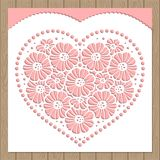 Template invitations for laser or die-cutting. Heart of flowers. Vector vector illustration