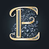 Vector letter E. Gold and silver. Monogram. Heraldic initials. Luxurious symbol. Wedding card. vector illustration