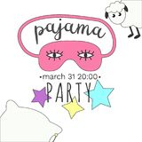 Girly Pajama Party Invitation in bright colors. Stock Photography