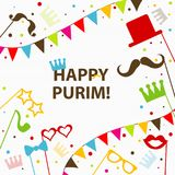 Template Jewish holiday Purim greeting card, crown, vector. Illustration Stock Photography