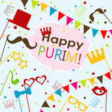 Template Jewish holiday Purim greeting card, vector Stock Images