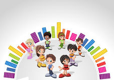 Template with kids. Colorful website Template with kids Royalty Free Stock Image