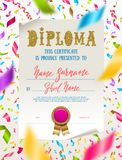 Template of kids diploma for kindergarten, school, preschool or playschool. Certificate type design on a white paper and colorful falling confetti. Vector Stock Images