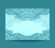 Template  label with abstract wave  in marine blue Royalty Free Stock Photo