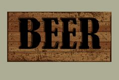 Template label beer made from old boards. Royalty Free Stock Photo