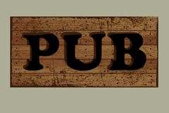 Template label pub made from old boards. Stock Images