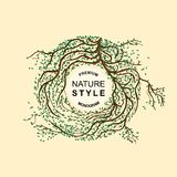 Template labels, monogram, logo, emblem. Branches of trees braided Stock Photos