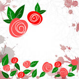 Template with laconic sketch roses and leaves Royalty Free Stock Photos