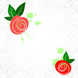 Template with laconic sketch roses and leaves Royalty Free Stock Images