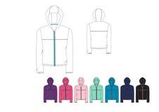 Template of Ladies light weight front Zip  Hood Jacket design Royalty Free Stock Photos