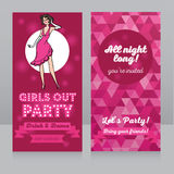 Template for ladies night party with beautiful hand drawn woman Royalty Free Stock Photos
