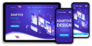 Template Landing page Isometric concept of web page design and development of mobile websites, adaptive design, applications. Easy to edit and customize royalty free illustration