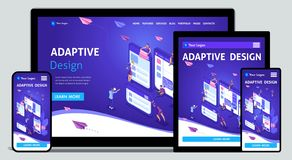 Template Landing page Isometric concept of web design and development of mobile websites, adaptive design, applications. Easy to edit and customize, adaptiive vector illustration