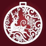 Template for laser cutting. Christmas ball. Vector. Template for laser cutting. Christmas ball with a deer and snowflakes. For design of cards, menu, Christmas vector illustration