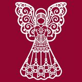 Beautiful, lace angel for laser cutting vector illustration