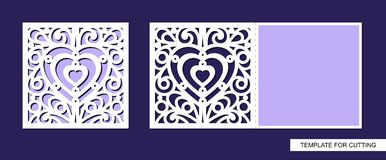 Silhouette of greeting card with heart. royalty free illustration