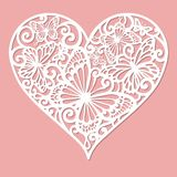A template for laser cutting. Openwork heart. royalty free illustration
