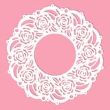 Template for laser cutting. Round frame with floral ornament. Vector stock illustration