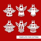 Set of christmas Decoration - silhouettes of Angels . vector illustration