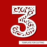 Number  three - 3. Template for laser cutting, wood carving, paper cut and printing. Vector illustration Royalty Free Stock Photography